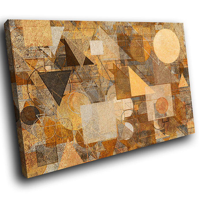 AB1773A Framed Canvas Print Colourful Modern Abstract Wall Art -  brown aged paper