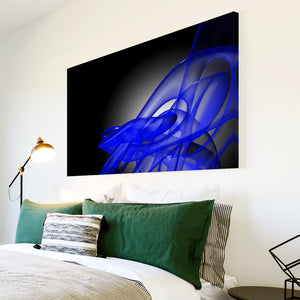 AB177 Framed Canvas Print Colourful Modern Abstract Wall Art - Blue Black Wave Retro-Canvas Print-WhatsOnYourWall