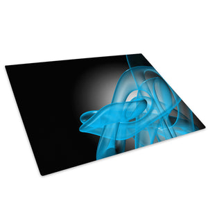 Blue Black Wave Retro Glass Chopping Board Kitchen Worktop Saver Protector - AB178-Abstract Chopping Board-WhatsOnYourWall