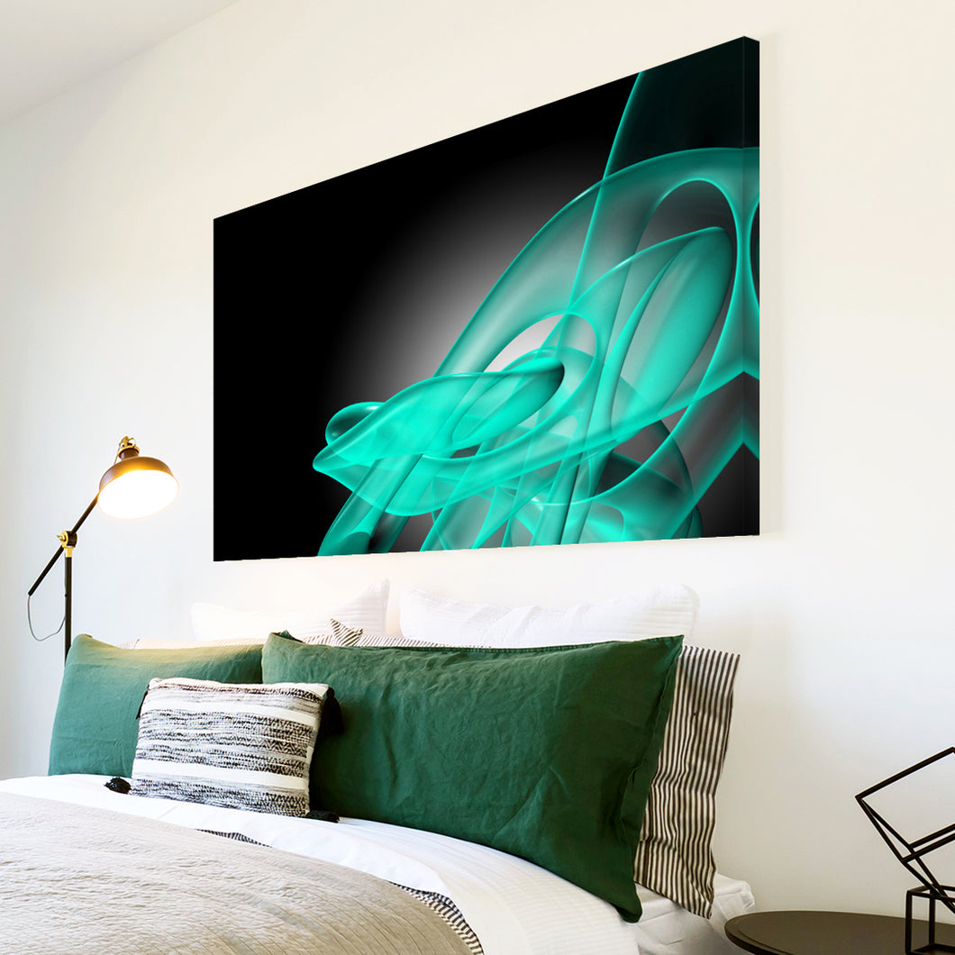 AB179 Framed Canvas Print Colourful Modern Abstract Wall Art - Teal Black Wave Retro-Canvas Print-WhatsOnYourWall