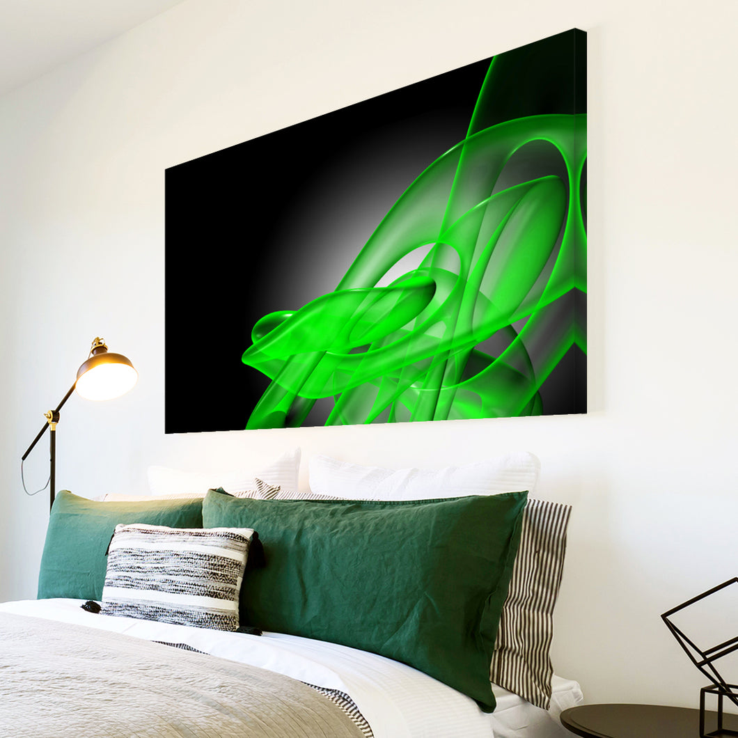 AB180 Framed Canvas Print Colourful Modern Abstract Wall Art - Green Black Wave Cool-Canvas Print-WhatsOnYourWall