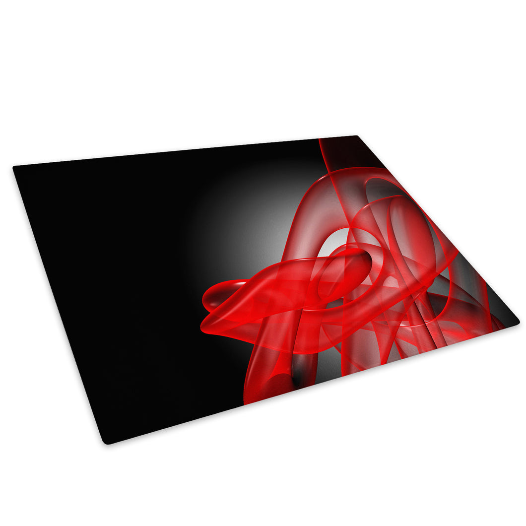 Red Black Wave Retro Glass Chopping Board Kitchen Worktop Saver Protector - AB181-Abstract Chopping Board-WhatsOnYourWall
