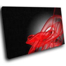 AB181 Framed Canvas Print Colourful Modern Abstract Wall Art - Red Black Wave Retro-Canvas Print-WhatsOnYourWall