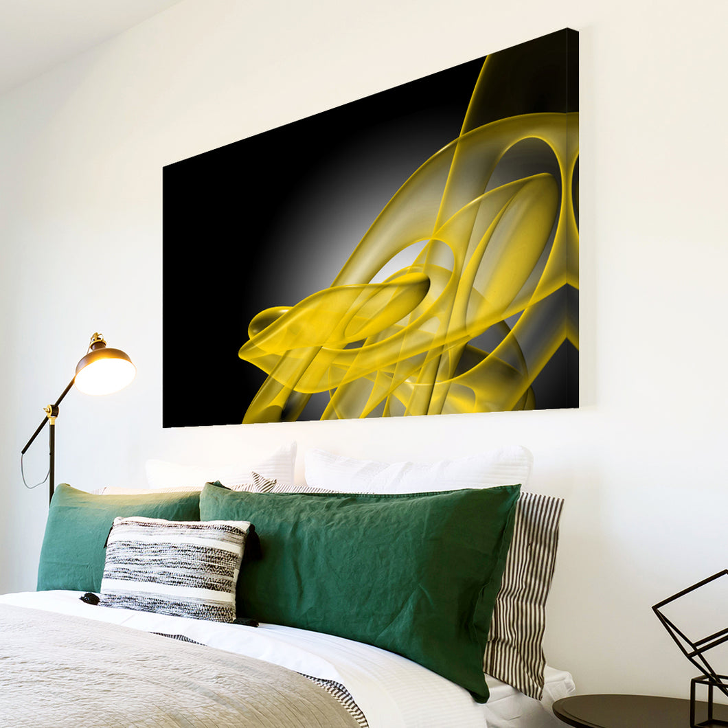 AB182 Framed Canvas Print Colourful Modern Abstract Wall Art - Yellow Black Wave-Canvas Print-WhatsOnYourWall
