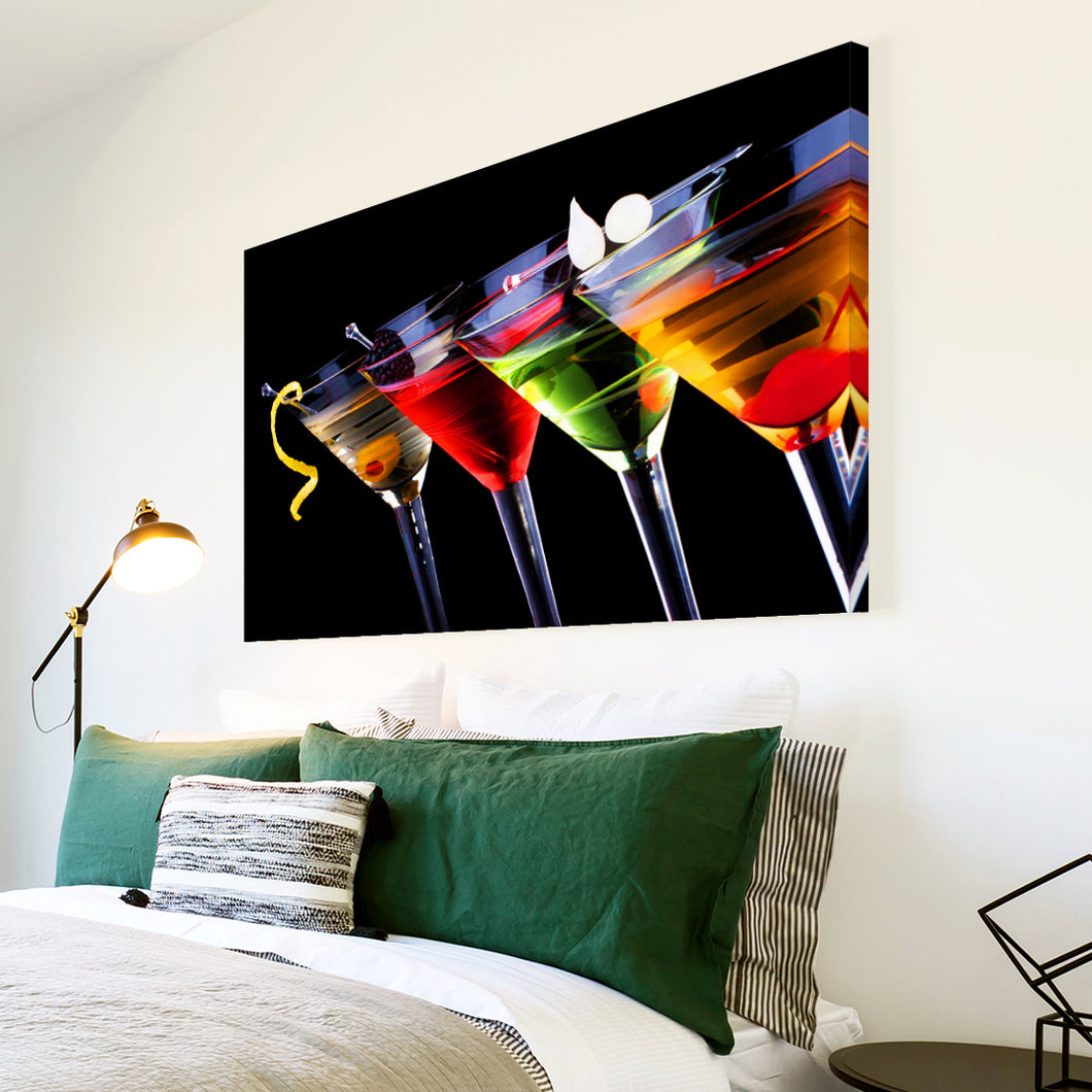 AB188 Framed Canvas Print Colourful Modern Abstract Wall Art - Red Green Cocktail-Canvas Print-WhatsOnYourWall
