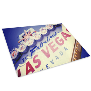 Blue Las Vegas Sign Glass Chopping Board Kitchen Worktop Saver Protector - AB189-Abstract Chopping Board-WhatsOnYourWall