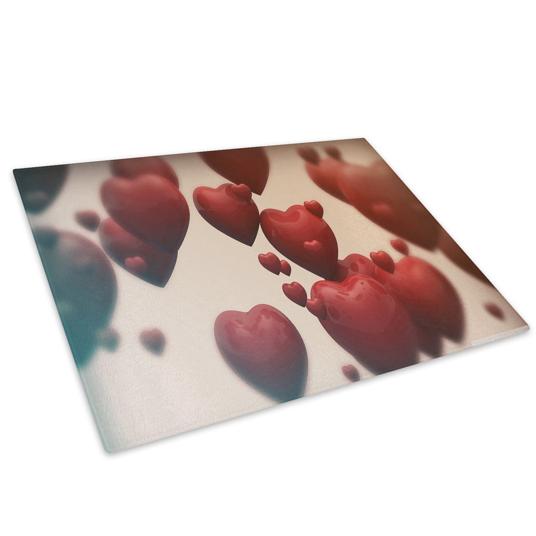 Red Love Hearts Cool Glass Chopping Board Kitchen Worktop Saver Protector - AB190-Abstract Chopping Board-WhatsOnYourWall