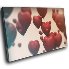 AB190 Framed Canvas Print Colourful Modern Abstract Wall Art - Red Love Hearts Cool-Canvas Print-WhatsOnYourWall