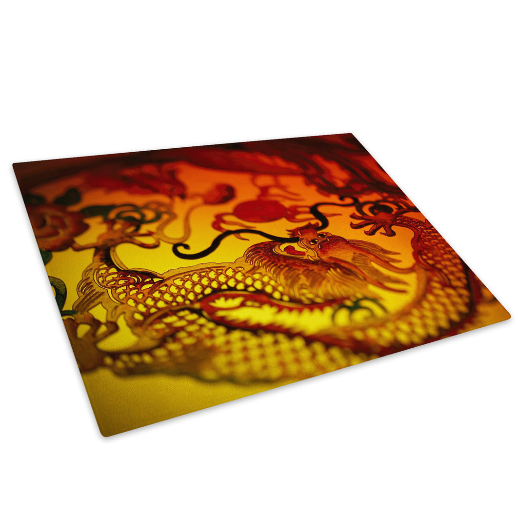 Red Chinese Dragon Yellow Glass Chopping Board Kitchen Worktop Saver Protector - AB192-Abstract Chopping Board-WhatsOnYourWall