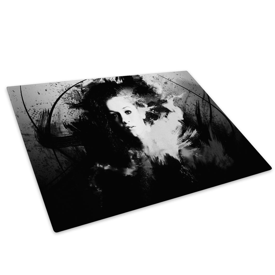 Black White Grunge Glass Chopping Board Kitchen Worktop Saver Protector - AB195-Abstract Chopping Board-WhatsOnYourWall