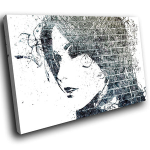 AB197 Framed Canvas Print Colourful Modern Abstract Wall Art - Black Grey Graffiti-Canvas Print-WhatsOnYourWall