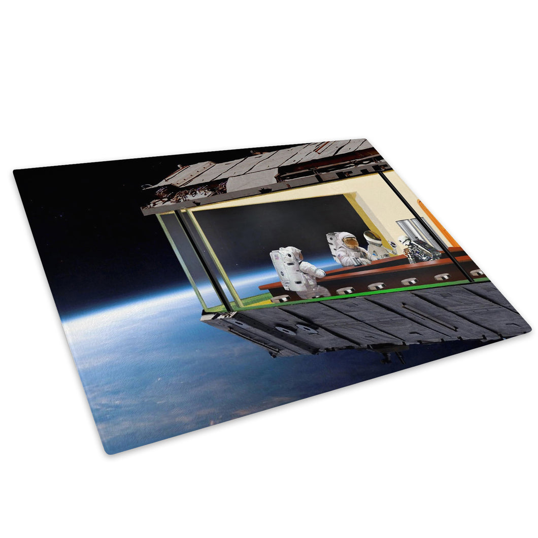 Blue Nighthawks Space Glass Chopping Board Kitchen Worktop Saver Protector - AB198-Abstract Chopping Board-WhatsOnYourWall