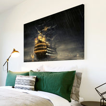 AB200 Framed Canvas Print Colourful Modern Abstract Wall Art - Black Ship Night Cool-Canvas Print-WhatsOnYourWall