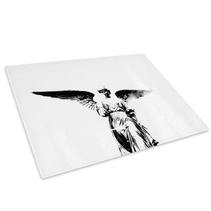 Black White Angel Cool Glass Chopping Board Kitchen Worktop Saver Protector - AB201-Abstract Chopping Board-WhatsOnYourWall