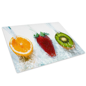 Red Orange Green Fruit Glass Chopping Board Kitchen Worktop Saver Protector - AB204-Abstract Chopping Board-WhatsOnYourWall