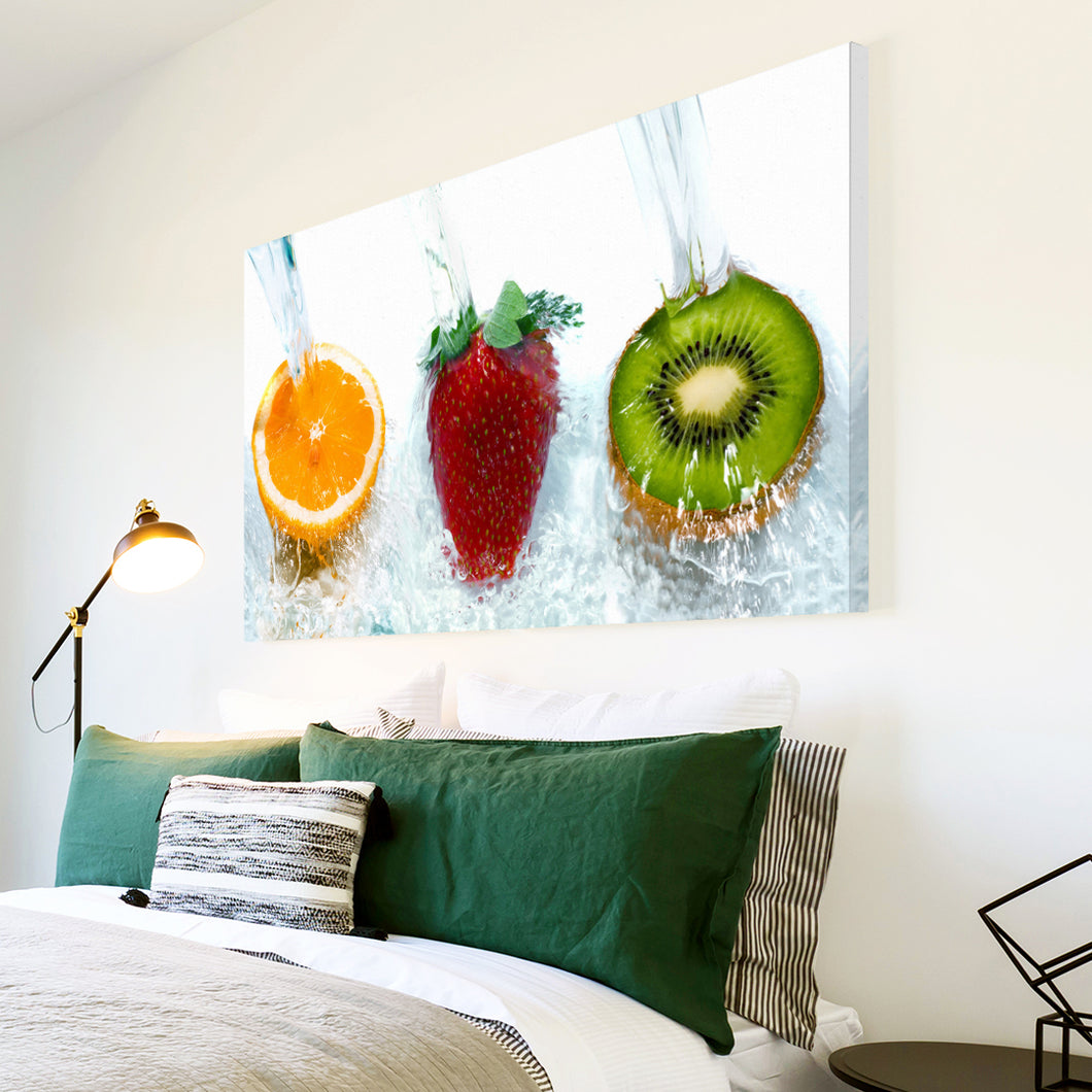 AB204 Framed Canvas Print Colourful Modern Abstract Wall Art - Red Orange Green Fruit-Canvas Print-WhatsOnYourWall