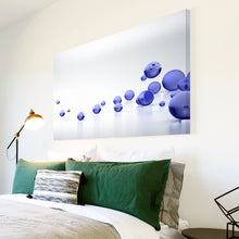AB207 Framed Canvas Print Colourful Modern Abstract Wall Art - Blue Grey Circle Cool-Canvas Print-WhatsOnYourWall