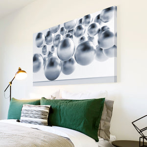 AB208 Framed Canvas Print Colourful Modern Abstract Wall Art -  Grey White Circle