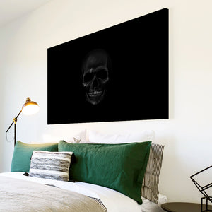 AB210 Framed Canvas Print Colourful Modern Abstract Wall Art - Black Skull Gothic-Canvas Print-WhatsOnYourWall