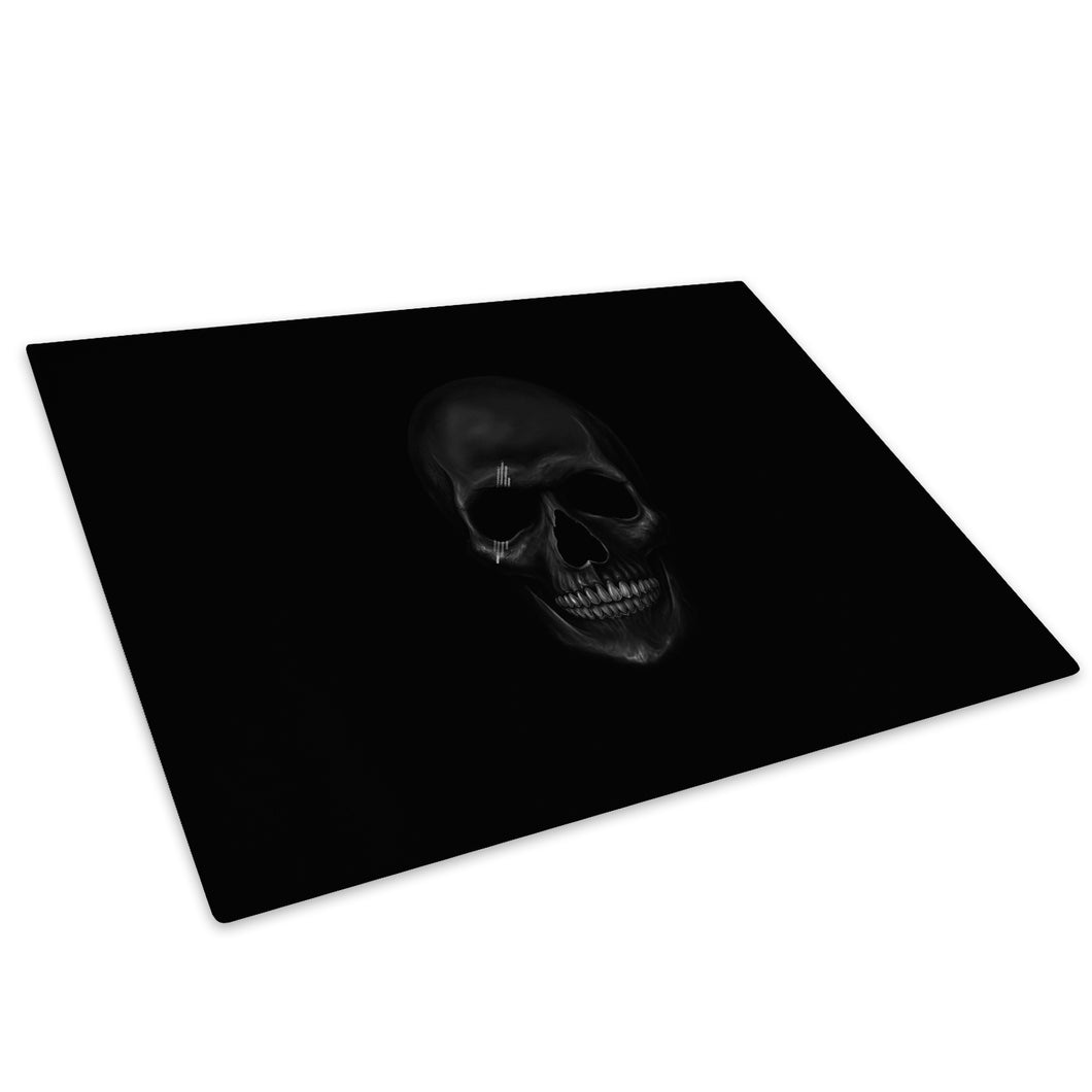 Black Skull Gothic Glass Chopping Board Kitchen Worktop Saver Protector - AB210-Abstract Chopping Board-WhatsOnYourWall