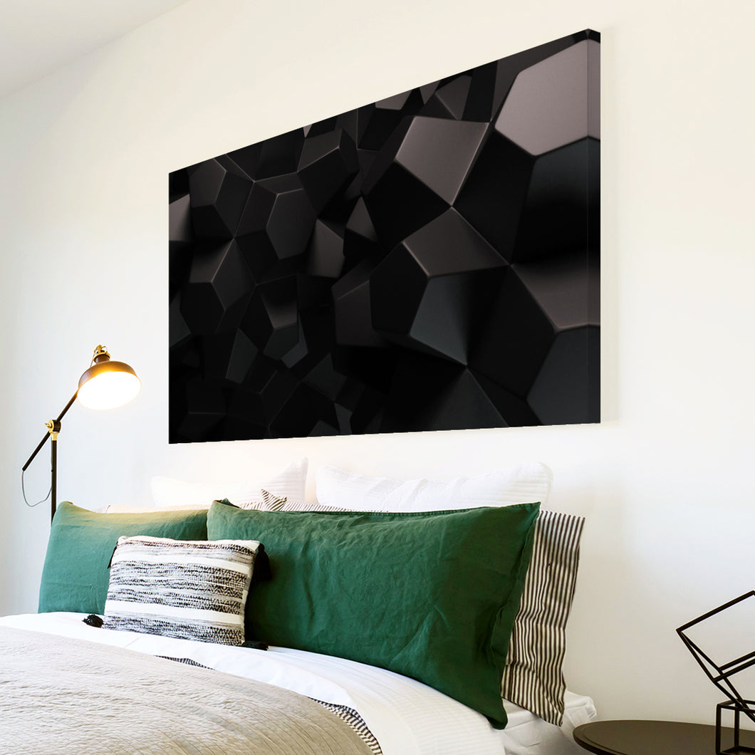 AB212 Framed Canvas Print Colourful Modern Abstract Wall Art - Grey Black Geometric-Canvas Print-WhatsOnYourWall