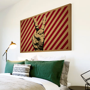 AB213 Framed Canvas Print Colourful Modern Abstract Wall Art - Red Stripe Peace Cool-Canvas Print-WhatsOnYourWall