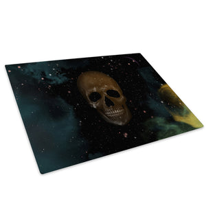 Black Space Skull Glass Chopping Board Kitchen Worktop Saver Protector - AB214-Abstract Chopping Board-WhatsOnYourWall