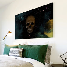 AB214 Framed Canvas Print Colourful Modern Abstract Wall Art - Black Space Skull-Canvas Print-WhatsOnYourWall