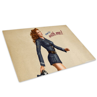 Pinup Girl Retro Cool Glass Chopping Board Kitchen Worktop Saver Protector - AB220-Abstract Chopping Board-WhatsOnYourWall