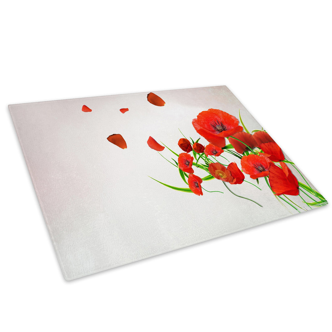 Red Poppy Flower Cool Glass Chopping Board Kitchen Worktop Saver Protector - AB222-Abstract Chopping Board-WhatsOnYourWall
