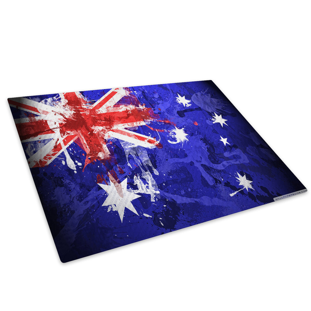 Australia Flag Grunge Glass Chopping Board Kitchen Worktop Saver Protector - AB225-Abstract Chopping Board-WhatsOnYourWall