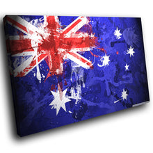 AB225 Framed Canvas Print Colourful Modern Abstract Wall Art - Australia Flag Grunge-Canvas Print-WhatsOnYourWall