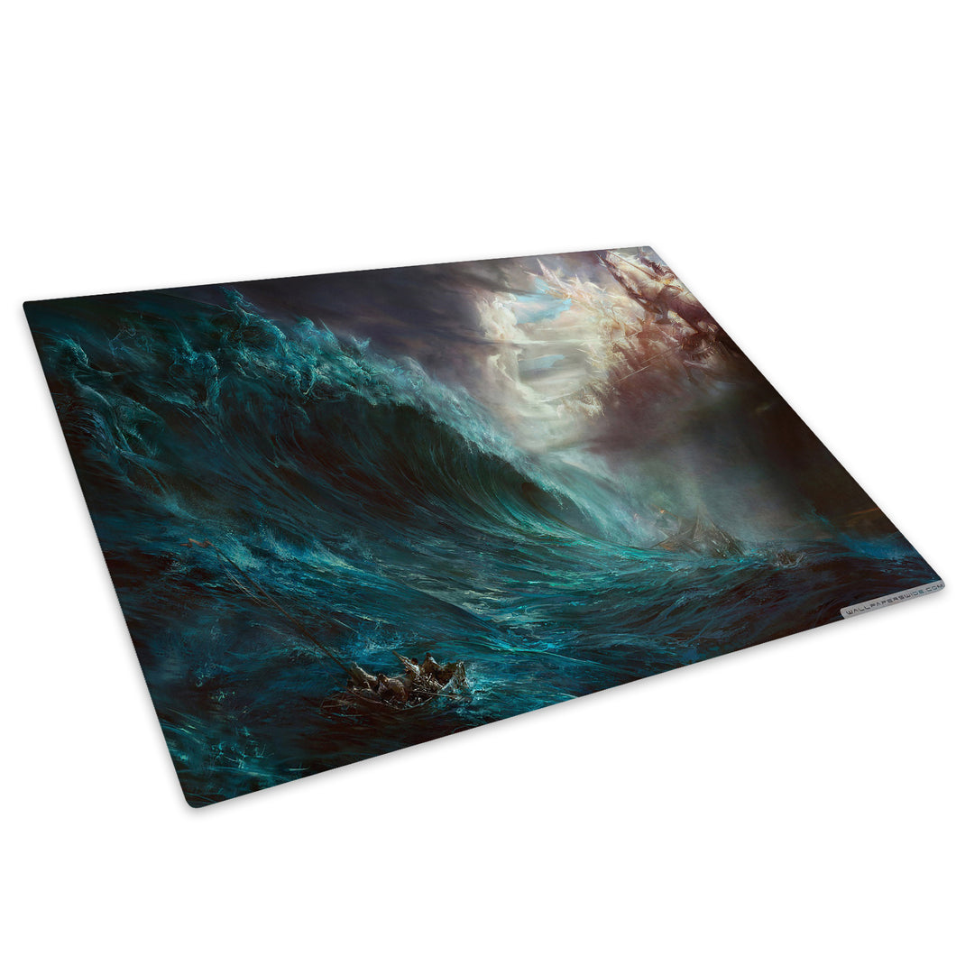 Blue Grey Ocean Ship Glass Chopping Board Kitchen Worktop Saver Protector - AB226-Abstract Chopping Board-WhatsOnYourWall