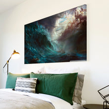 AB226 Framed Canvas Print Colourful Modern Abstract Wall Art - Blue Grey Ocean Ship-Canvas Print-WhatsOnYourWall