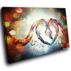 AB230 Framed Canvas Print Colourful Modern Abstract Wall Art - Red Blue Water Heart-Canvas Print-WhatsOnYourWall