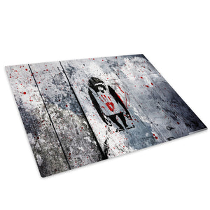Monkey Banksy Graffiti Glass Chopping Board Kitchen Worktop Saver Protector - AB231-Abstract Chopping Board-WhatsOnYourWall