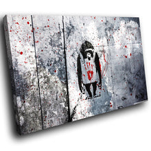 AB231 Framed Canvas Print Colourful Modern Abstract Wall Art - Monkey Banksy Graffiti-Canvas Print-WhatsOnYourWall