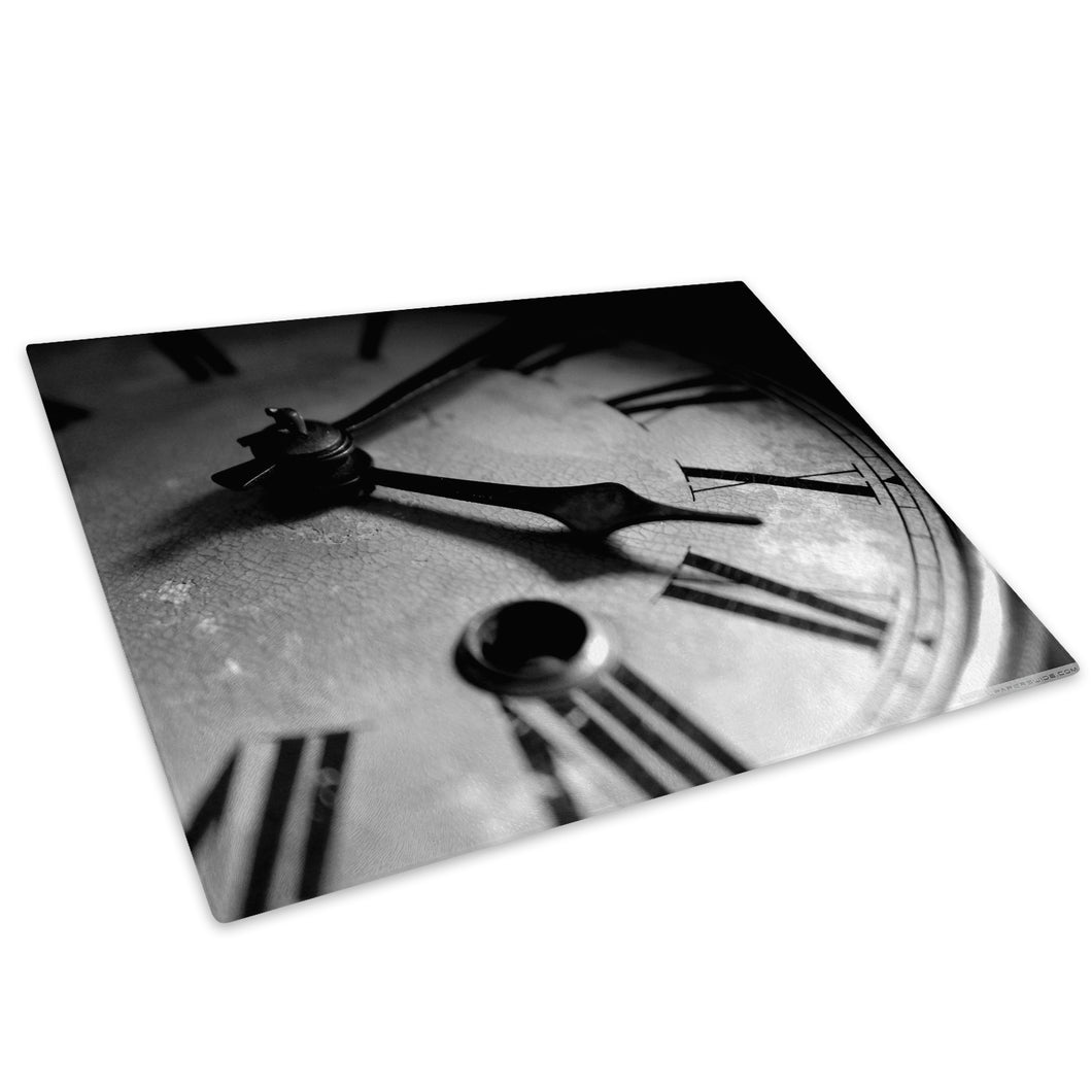 Black White Clock Glass Chopping Board Kitchen Worktop Saver Protector - AB232-Abstract Chopping Board-WhatsOnYourWall