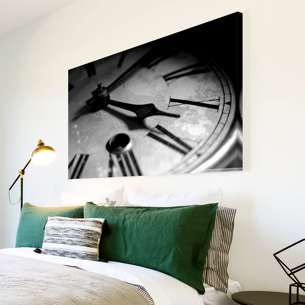 AB232 Framed Canvas Print Colourful Modern Abstract Wall Art -  Black White Clock