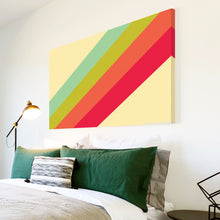 AB235 Framed Canvas Print Colourful Modern Abstract Wall Art - Pink Red Green Blue Stripes-Canvas Print-WhatsOnYourWall