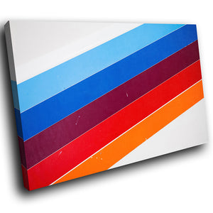AB238 Framed Canvas Print Colourful Modern Abstract Wall Art - Blue Purple Orange Stripe-Canvas Print-WhatsOnYourWall