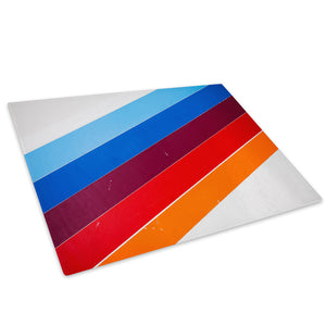 Blue Purple Orange Stripe Glass Chopping Board Kitchen Worktop Saver Protector - AB238-Abstract Chopping Board-WhatsOnYourWall