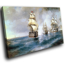AB239 Framed Canvas Print Colourful Modern Abstract Wall Art - Vintage Ships Sea Retro-Canvas Print-WhatsOnYourWall