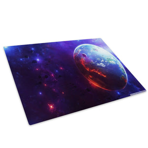 Blue Purple Sci Fi Planet Glass Chopping Board Kitchen Worktop Saver Protector - AB240-Abstract Chopping Board-WhatsOnYourWall