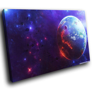 AB240 Framed Canvas Print Colourful Modern Abstract Wall Art - Blue Purple Sci Fi Planet-Canvas Print-WhatsOnYourWall