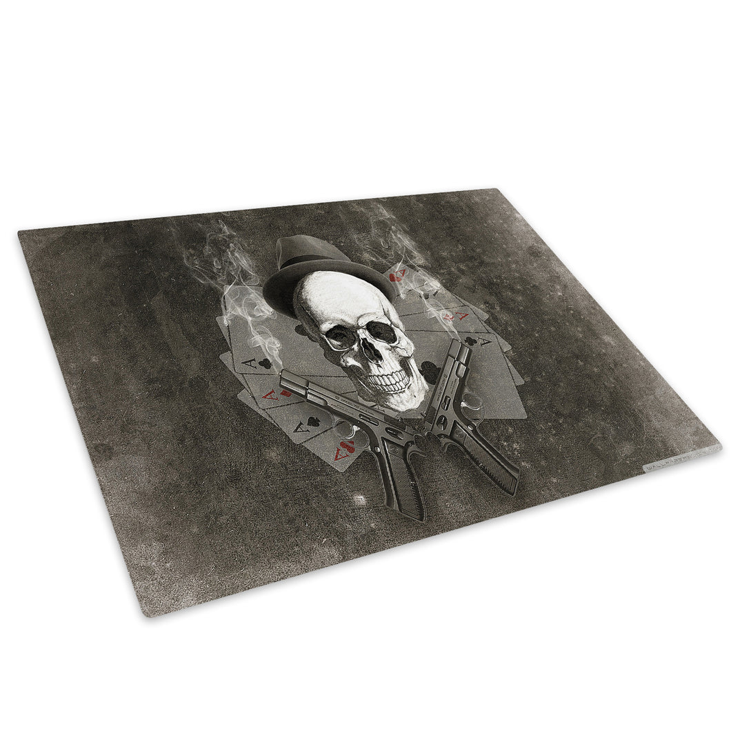 Grey Skull Retro Cool Glass Chopping Board Kitchen Worktop Saver Protector - AB241-Abstract Chopping Board-WhatsOnYourWall