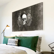 AB241 Framed Canvas Print Colourful Modern Abstract Wall Art - Grey Skull Retro Cool-Canvas Print-WhatsOnYourWall