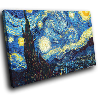 AB242 Framed Canvas Print Colourful Modern Abstract Wall Art -  Van Gogh Starry Night - WhatsOnYourWall