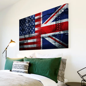 AB246 Framed Canvas Print Colourful Modern Abstract Wall Art - Uk America Usa Flag-Canvas Print-WhatsOnYourWall