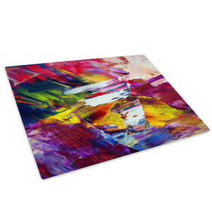 Pink Yellow Graffiti Glass Chopping Board Kitchen Worktop Saver Protector - AB249-Abstract Chopping Board-WhatsOnYourWall